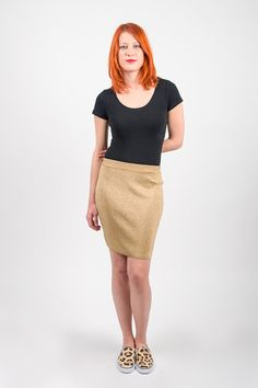 1980's Gold Skirt  Vintage 80s Benetton Shiny Knit by mijumaju, $42.00