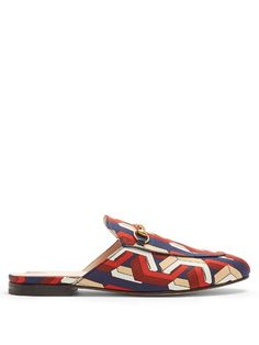 Gucci Princetown Web Chain-print satin loafers