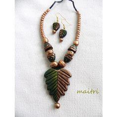 Terracotta Jewellery_Green Leaf set  https://www.facebook.com/maitricrafts.maitri https://www.facebook.com/maitri.crafts maitri_crafts@yahoo.com