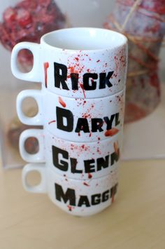 Shameless self-promotion.  The Walking Dead Stacking Mug Set. $38.00, via Etsy.