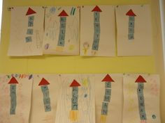 Space letter name rockets: The Pre- K class was having fun with their space unit and made rockets with individual letters in their names.