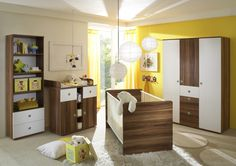 TINA Babyzimmer 4tlg walnuss/weiss 3-türig #kinderzimmer