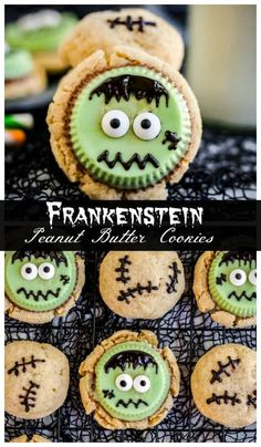 Adorable Halloween Frankenstein Peanut Butter Cookies! Decadent peanut butter cookies are topped with Reese's peanut butter cups and candy eyes to make one silly but sweet treat. Super simple and no fancy decorating skills required! #halloween @reeses #peanutbuttercookies See this and other fun spooktacular recipes at TheSeasideBaker.com Halloween Finger Foods, Halloween Cookie Recipes, Halloween Food For Party, Halloween Desserts, Halloween Cookies, Easy Halloween, Halloween Treats, Reeses Peanut Butter, Peanut Butter Cookies