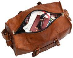 """Rustikaler Chic trifft auf praktischen Komfort und heraus kommt - """"Henry""""! Die Reisetasche aus naturgegerbtem, braunem Ziegenleder ist der ideale Reisebegleiter. Ob für den Jetsetter oder Tramper - """"Henry"""" passt sich Deinen Reisevorlieben an - Weekender - Bordtasche - Lederreisetasche - Gusti Leder - R4"""