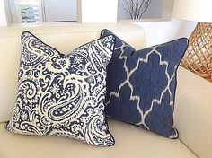 Check out our blue cushions selection for the very best in unique or custom, handmade pieces from our shops. Navy Blue Cushions, Cream Cushions, Navy Pillows, Cream Lounge, Blue Lounge, Blue And Cream Living Room, Paisley Fabric, Bedroom Paint Colors, Geometric Pillow