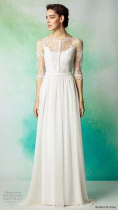 rembo styling 2017 bridal lace half sleeves illusion bateau scoop neck heavily embellished bodice bohemian romantic column modified a  line wedding dress low back sweep train (lanza) mv -- Rembo Styling 2017 Wedding Dresses