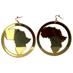 Gold mirror style - map of Africa hoop earrings. These are one of our most popular Afrocentric Earrings because they depict the Map of Africa. They are a gold mirror material finish on an acrylic earr