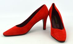 NEW! Donna Karan New York Red Suede Leather Heels Classic Pumps ~ Sz 6.5 AA #DonnaKaran #PumpsClassics