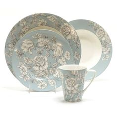 222 Fifth Country Toile Aqua 16-piece Porcelain Dinnerware Set   OVERSTOCK   89.99
