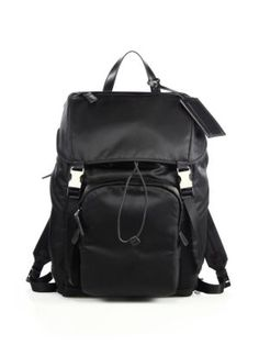 PRADA Leather Trim Backpack. #prada #bags #backpack