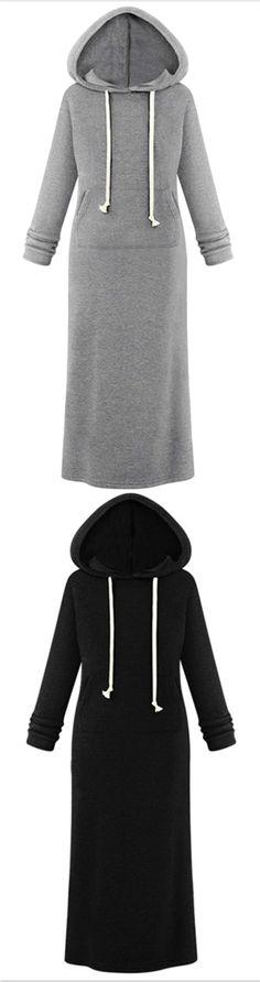 Women's Hooded Pullover Maxi Sweatshirt Dress