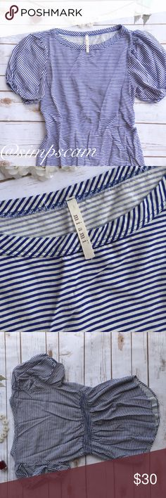 """Francesca's """"Miami"""" Brand Blouse Super cute with a elastic drawn back. Great condition!! Blue and white sailor striped with poufy sleeves. 15.5"""" wide and 24"""" long so fits more like an XS than the labeled small. Francesca's Collections Tops Blouses"""