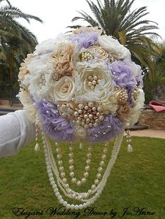 COUNTRY BROOCH BOUQUET- Deposit for a  ustom made Country Glam Jeweled Wedding Bouquet, Brooch Bouquet, Jeweled Bouquet, full price 450