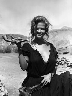 Claudia Cardinale on the set of Sergio Leone's Once Upon a Time in the West.