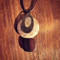 Copper Leather Cord OOAK Necklace with Stone Wood and Brass Pendant and Extension Chain: Halo on Etsy, $15.00