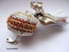 Pendant- Toho Treasures , Miyuki Delica, Swarovski, ribbon of pearls