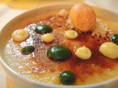 sweet potato creme brulee with aji amarillo custard, basil pudding and annatto ice cream.  Austin- Carillon