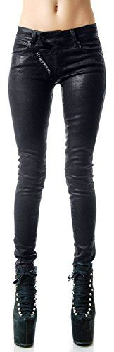Kill City Womens Waxed Goth Rocker Moto Slim Skinny Jeans 31 >>> Visit the image link more details.