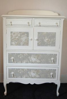 Beautiful Vintage French Blue with Roses Dresser/Cabinet/Armoire French Chic Design. $325.00, via Etsy.