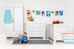 The Bordeaux furniture set will look amazing and any in babies nursery and comprises of a Cot-bed, Wardrobe, Dresser with Changer Top and Shelf.
