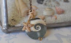 ocean wave lampwork bead with golden bronze by DeniseDionDesigns, $42.00