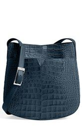 Vince 'Medium' Croc Embossed Leather Crossbody Bag
