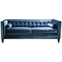 Sandy Wilson Milano Fusion Tufted Teal Velvet Sofa - #7D309 | LampsPlus.com