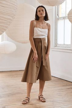 Manami Skirt - Army – ST. AGNI Knit Skirt, Midi Skirt, Vintage Tops, Vintage Dresses, St Agni, 90s Fashion, Fashion Outfits, Summer Outfits, Cute Outfits