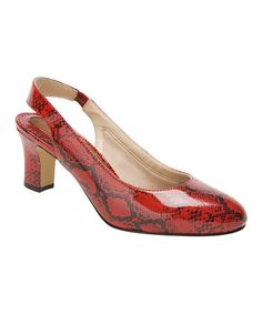 Loving this Red & Black Snake Vicki Patent Leather Pump on #zulily! #zulilyfinds