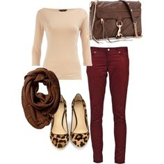 maroon pants outfit