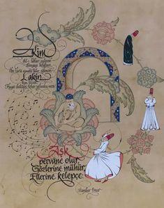"""Semazen minyatürü """" Hiç'lik Kapısı """" Minyatür: Yeliz Örnek / Kaligrafi: Muhammet Başdağ / Şiir: Onur Turgut Whirling Dervish, Scarf Design, Painting Lessons, Sufi, Beauty Art, Islamic Art, Gods Love, Miniatures, Pattern"""