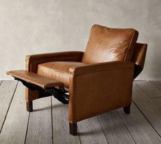 Tyler Leather Square Arm Recliner With Nailheads | Pottery Barn