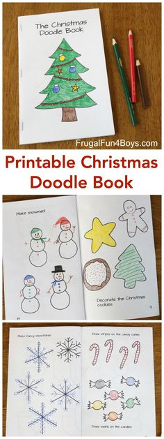 Printable Christmas Doodle Book - Tree to decorate, stockings to design, make snowmen, create snowflake designs, and more! Great Christmas activity for kids.