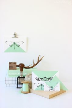 #mint, #triangles and #butterfly cards on www.tresorsinutiles.com