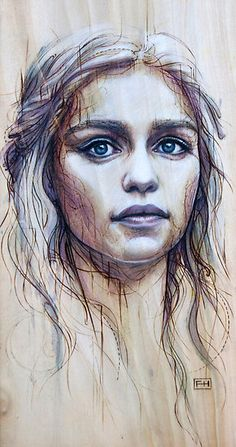 Daenerys by Fay Helfer   Interesting mark making