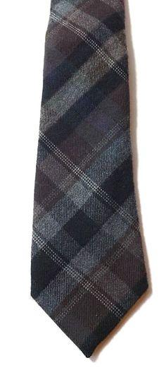 JOHN LEWIS Wool Blend Neck Tie Grey, Brown, Black Tartan Soft Weave FREE P&P #JohnLewis #Tie