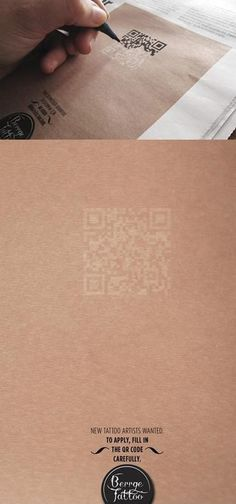Test Your Might! Clever advetisment design for a tattoo studio looking for a new artist. To get the info you have to carefully fill in the QR code.