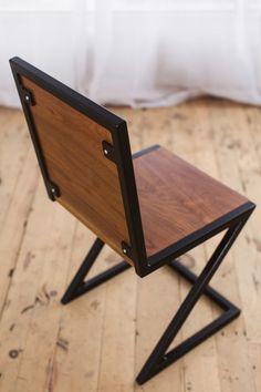 steel furniture Z-dining-chair-walnut-black-powdercoat-steel-back-vignette-factor-fabrication Diy Furniture Chair, Welded Furniture, Walnut Furniture, Iron Furniture, Steel Furniture, Diy Chair, Furniture Outlet, Furniture Stores, Discount Furniture