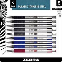 Zebra F-301 Ballpoint Pen, Retractable, 0.7mm, Assorted, 9 Pack (11169)