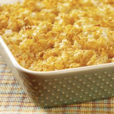Jill's Hash Brown Casserole-Also good with cream of chicken soup and potato chips instead of corn flakes