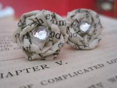 These would totally match the nails in this board! LOVE    Vintage Paper Earrings  Discover the by VintageOoakDesigns