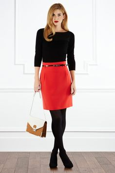 color blocking with red and black