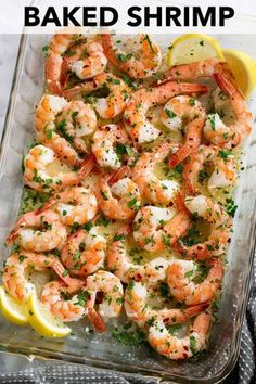 Baked Shrimp with a simple Garlic Lemon Butter Sauce - this recipe couldn't get any easier and you'll be dreaming about this sauce! You get perfectly tender baked shrimp covered in a bright, rich sauce that's perfect for sopping up with fresh crust