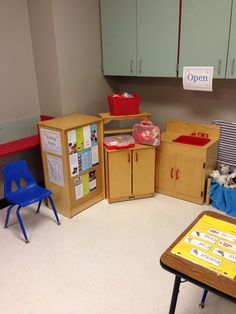 Vet's office for dramatic play center. Laminated vet brochures. Includes waiting room, vet dress up, doctor's kits and pets and blankets!