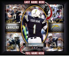 San Diego Chargers NFL Football - Personalized Action Collage Print / Picture. Have you or someone you know ever dreamed about playing next to your favorite San Diego Chargers players. You or someone you know can be right there in the locker room with San Diego Chargers players! Optional framing with mat is available. Perfect for gifts, rec room, man cave, office, child's room, etc. ( www.oakhousesportsprints.com )