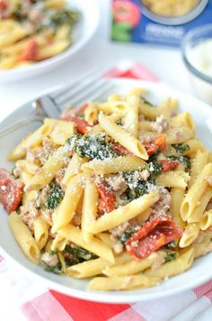 Creamy One Pot Pasta with Sausage, Kale and Sun Dried Tomatoes | @simplywhisked