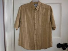 Columbia Shirt Size M Short Sleeve Tan Gold Check Button Front L Oversized