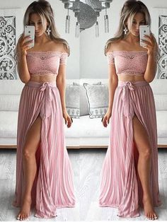 Sale Splendid Cheap Prom Dresses, Two Piece Prom Dress, Sexy Off The Shoulder Lace Long Prom Dress Evening Dress With Side Slit Two Piece Evening Dresses, Sexy Evening Dress, Mermaid Evening Dresses, Cheap Prom Dresses, Sexy Dresses, Lace Dress, Dress Long, Dress Prom, Lace Chiffon