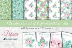 Tropical watercolor patterns by Natali_art on @creativemarket