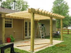 Fourth House On The Right: Our Patio Pergola Small Pergola, Pergola Attached To House, Pergola With Roof, Wooden Pergola, Backyard Pergola, Patio Roof, Pergola Plans, Pergola Ideas, Patio Ideas